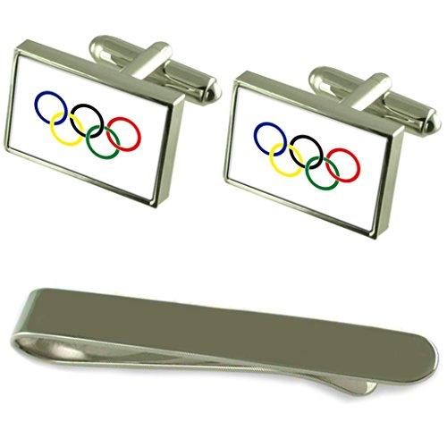 Select Gifts Olympische Bewegung Flagge Silber Manschettenknöpfe Krawatten Geschenkset mit Gravur