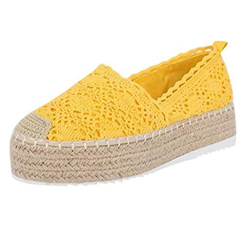 YWLINK Plataforma Hueca para Mujer Zapatos Casuales Color SóLido Transpirable CuñA Alpargatas Antideslizante CóModo Zapatos Romanos Bohemia TamañO Grande Fiesta Deportes Al Aire Libre(Amarillo,40EU)