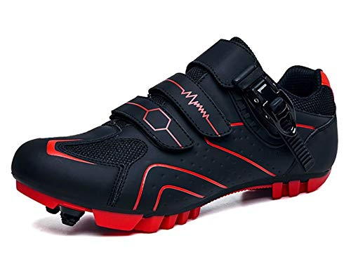 Zapatillas de Ciclismo Carretera Hombre de Calas MTB Specialized Mujer Zapatos de Bicicleta de Montaña Transpirables Exteriores Negro Rojo 42