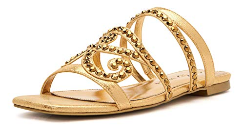 Katy Perry Damen The Anat Jeweled Flat Schiebe-Sandalen, Goldfarben, 39 EU