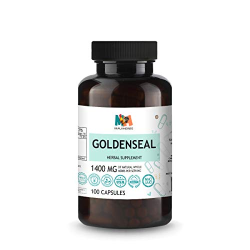 Goldenseal Capsules - Organic Food Supplement to Support Digestive Function, Natural Allergy Relief & Urinary Tract Health - Non-GMO, Vegan Herbal Formula - 1400mg, 100 Caps per Bottle
