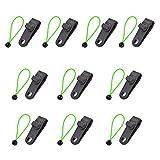 LIOOBO 10 Juegos de Clips de Lona para Trabajo Pesado Agarre de Bloqueo Sujetadores de Carpa Profesionales Sujetadores de Clips con Cuerda de Amarre para Toldos de Camping (Verde)
