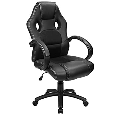 Furmax Office Chair Leather Desk Gaming Chair, High Back Ergonomic Adjustable Racing Chair,Task Swivel Executive Computer Chair Headrest Lumbar Support (Black)