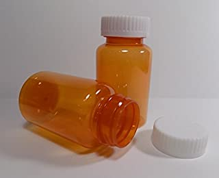 Plastic Travel Screw-Top Wide Mouth Packer Bottles Container Jars CLEAR AMBER 5 Ounce Size Package of 12 Units