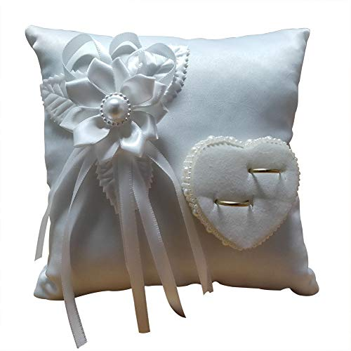 kangOnline Cojín cuadrado para anillos de boda, decorado con flor y corazón 3D, color blanco
