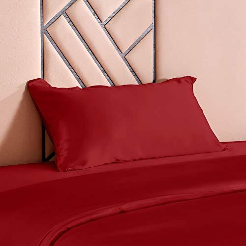 THXSILK - Funda de almohada de seda, 100% 19 Momme de seda de morera, cuidado del cabello y de la piel, rojo, 40 x 60 cm