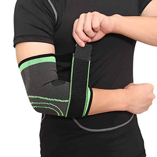 ZYQDRZ Coderas De Soporte, Codo Brace-Ajustable Compresión Soporte Brazo Estabilizador De Codo, Apto para Hombres Y Mujeres, Tenis, Golf, Lesiones Musculares,Verde,XL