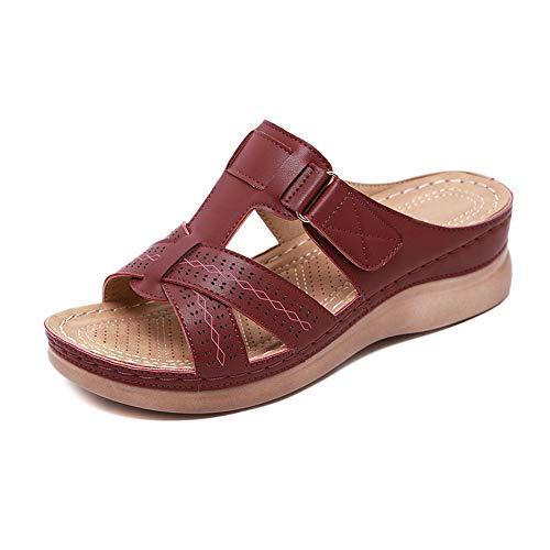 Teekit Orthopädische Damen-Sandalen mit offenem Zehenbereich, Vintage, rutschfest, atmungsaktiv, für den Sommer, Schwarz - dunkelrot - Größe: 44 EU