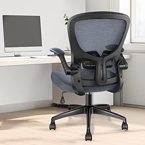 Bürostuhl Schreibtischstuhl - YONISEE Ergonomisch Burostuhl Verstellbarer Lendenwirbelstütze, Höhenverstellun Wippfunktion Drehstuhl Office Chair