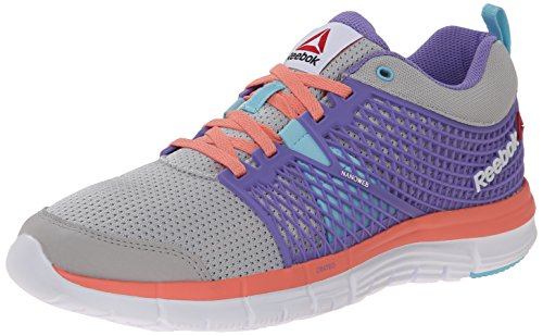 Reebok Zquick Dash Running Shoe (Little Kid/Big Kid), Steel/Lush Orchid/Blue Pool/Coral/White, 7 M US Big Kid