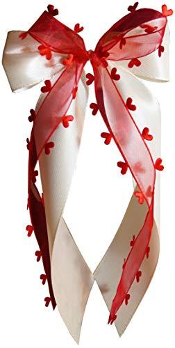 10 Stk Antennenschleife Autoschleife Autoschmuck Hochzeit creme / rot SCH0123