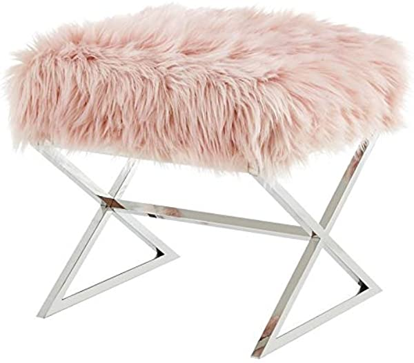 Posh Living Colin Rose Faux Fur Ottoman Stainless Steel Chrome X Legs
