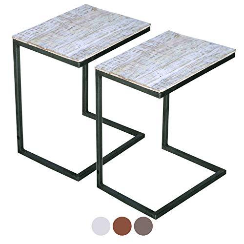 casamia Couchtisch 2er Set Wohnzimmer-Tisch-Set Beistelltisch Atlanta Metall-Gestell Altsilber oder schwarz Farbe weiß gekälkt