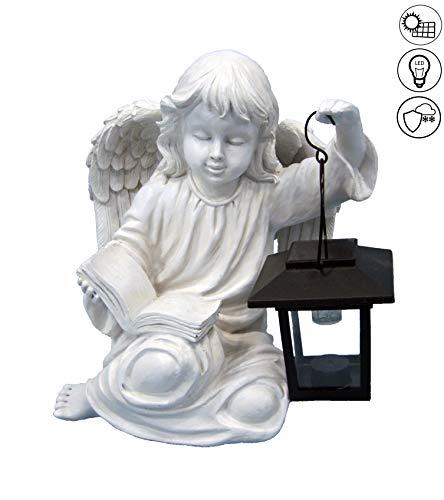 ABC Home Living Gartendeko Gartenfigur Dekofigur Engel mit Laterne solarbetrieben Innen-& Außenbereich, Weiß
