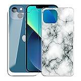 KJYF para Apple iPhone 13 Funda + Vidrio Templado Película, Transparente Case Anti-Arañazos Silicona TPU Caso Cover y Cristal Templado para Apple iPhone 13 (6.1') - Canica