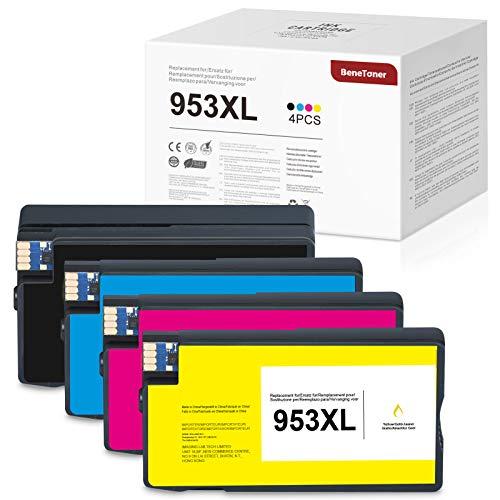 4 cartuchos de tinta BeneToner compatibles para HP 953XL 953 XL de repuesto para HP OfficeJet Pro 8720 7720 8710 7730 8715 7740 8718 8210 8725 8218 8728 8740 8730 8731 (1xBK, 1xC, 1xM ,1xY)