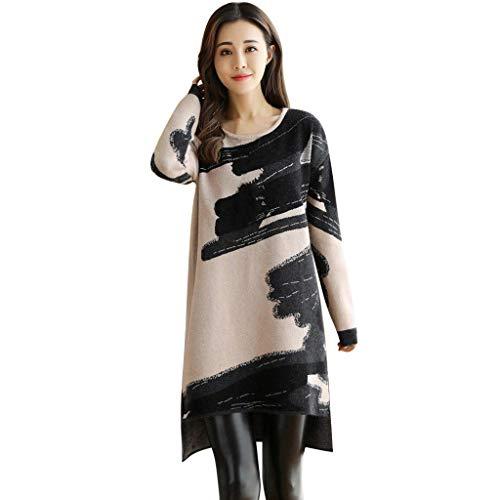 Dasongff Damen Langarm A-Linie Beiläufige Lose T-Shirt-Kleid Blusenkleid Unregelmässiges Etuikleid Tunika Shirt Bluse Print Baggy Kleid