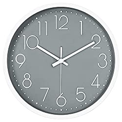 12in Non-Ticking Wall Clock, JUSTUP Silent Battery Operated Wall Clock with ABS Frame HD Glass Cover for Kids Living Room Bedroom Kitchen School Office Decor (Gray)