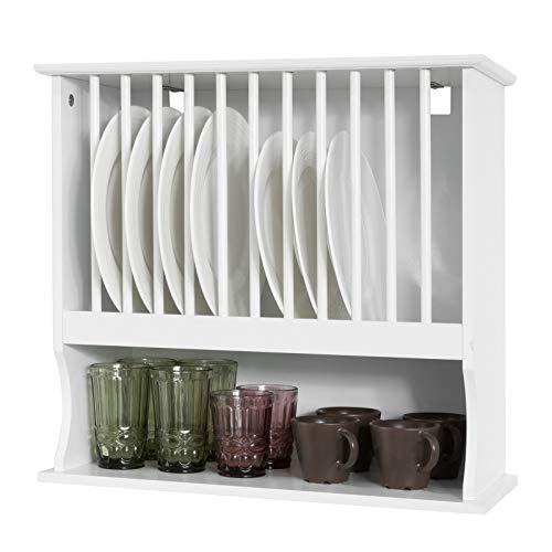 SoBuy KCR04-W Tellerhalter für 12 Teller Tellerregal Wandregal Tellerständer Küchenregal mit einem Fach weiß BHT ca.: 55x51x24cm