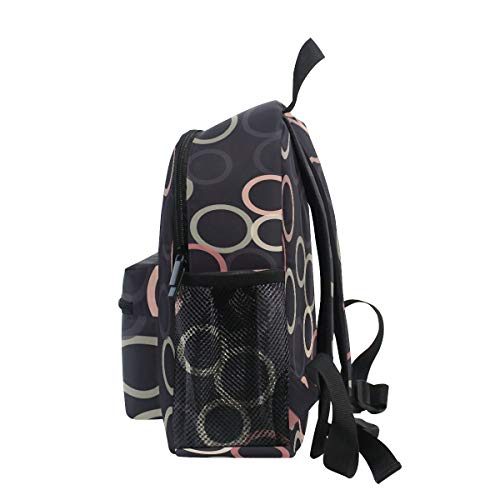 Chic Houses Colorful Circle Fresh Style Concise Mini Casual Packback Modern Minimalist Toddler Bookbag School Bag for 3-8 Years Old Boys Girls Kids Preschool Backpack 2030219