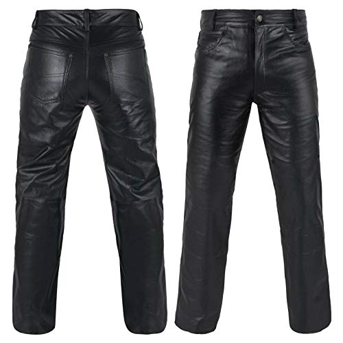"DEFY Men's Cow Skin Full Grain Motorcycle Heavy Duty Leather Pants (34"") Black"