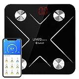 LIVINGbasics™ Bluetooth Body Fat Scale, Smart Wireless Digital Bathroom Weight Scale with iOS