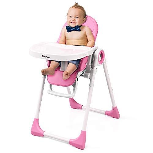 COSTWAY 2 in 1 Kinderhochstuhl höhen- und winkelverstellbar, Hochstuhl klappbar, Kinderstuhl mit Liegefunktion, Babystuhl multifunktional, Kombihochstuhl, Babyhochstuhl für Babys über 6 Monate (Rosa)