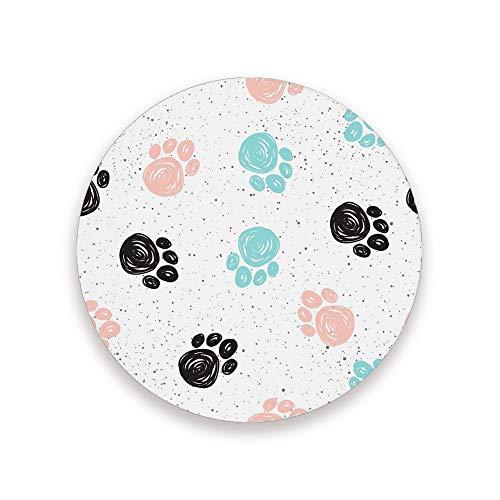 CHEHONG Sottobicchieri assorbenti Graffiti con zampe di cane, nero, blu, rosa, in ceramica, con base in sughero, per decorare la casa, ufficio, bicchieri da pranzo, set da 1, 2, 4 pezzi, Ceramica + base in sughero., Colore, 2 pezzi