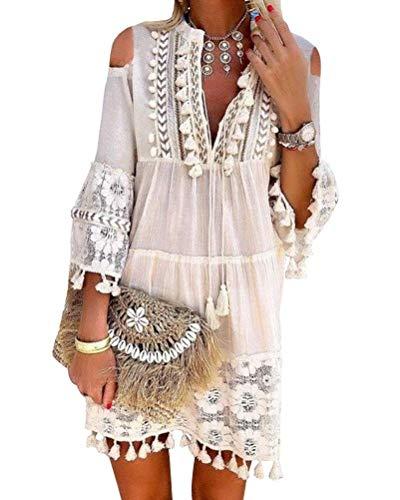 Minetom Damen Kleider Strand Elegant Casual A-Linie Langarm Sommerkleider Boho V-Ausschnitt Quaste Spitze Schulterfrei Tunika Mini Kleider Große Größe B Weiß 34