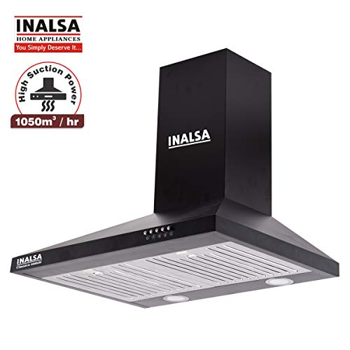 Inalsa 60 cm, 1050 m³/hr, Pyramid Chimney Classica 60BKBF(Black)(For kitchen size ≅ 175 sqft)