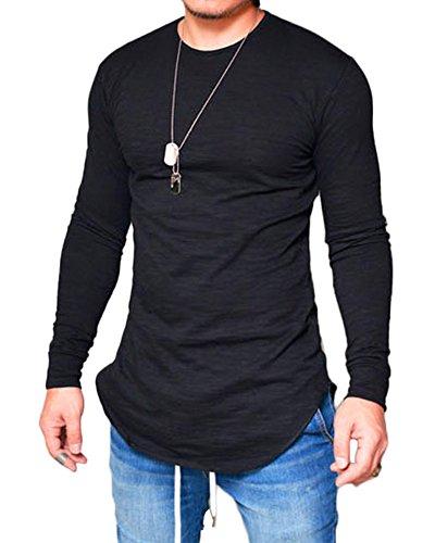 Minetom Hombre Otoño Camisetas de Manga Larga Slim Fit Cuello Redondo Sudaderas Básico Color Sólido Shirt Top