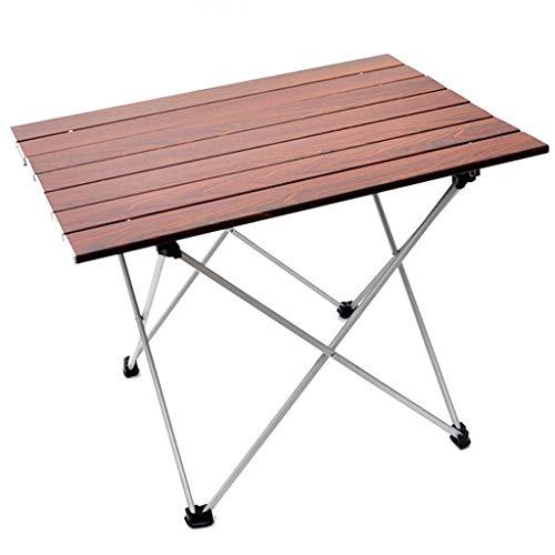 ZB1026 Table de Camping en Plein Air, Table de Barbecue de Jardin Portable, Table Pliante en Alliage D'aluminium à Grain de Bois, Petite Table de Jeu de Pêche pour 4 Personnes