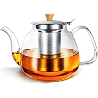 Hihuos 32oz Glass Teapot with Removable Infuser