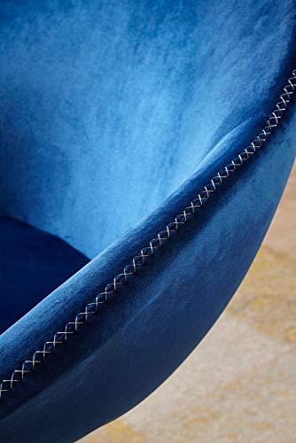 FineBuy Loungesessel SIRAN 70 x 79 x 70 cm Design Drehstuhl Blau | Clubsessel Polsterstuhl mit Armlehne | Drehsessel Cocktailsessel Lounge | Barsessel Besucherstuhl | Sessel mit Stoffbezug - 2