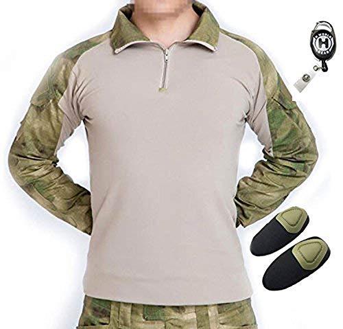 H mundo UE Taktisches caza militar Langarm Shirt con Pads Ellenbogen, color AT-FG, tamaño medium
