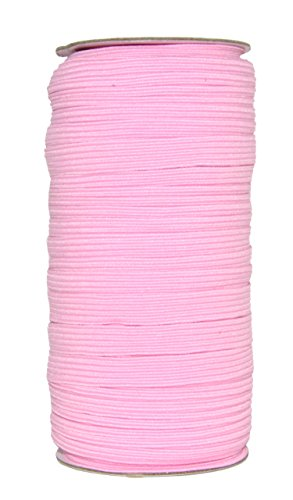 Mandala Crafts Flat Elastic Band, Braided Stretch Strap Cord Roll for Sewing and Crafting; 3/8 inch 10mm 50 Yards Pink