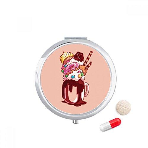 DIYthinker Donut Chocolade Biscuit Cup Ice Cream Travel Pocket Pill Case Medicine Drug Opbergdoos Dispenser Spiegel Gift