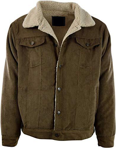 Premium Corduroy Jacket Sherpa Lined Coat Light Brown Medium