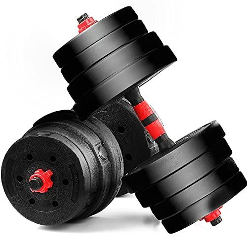 Kurzhantelset – 30 kg, 16 Gewichte, 2 Hantelstangen 30mm, aus Kunststoff, gerändelt, Doppelverschlüsse – Kurzhanteln, Kurzhanteln 2er Set, Hantelset mit Hantelscheiben für Home Gym Training (Rot)