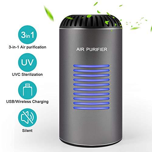 Luftreiniger mit HEPA Filter & Aktivkohlefilter, ZOTO Auto Air Purifier mit UV-Sterilisation & Negativion, Unterstützt Wireless und USB Powered, Leise, für Wohnung, Allergiker, Raucher