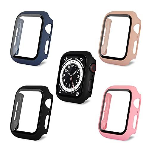 AOTUAO Funda Compatible con Apple Watch Serie 6 SE 5 4 44mm, Estuche Rígido Delgado PC Protector de Pantalla Cristal Templado para iWatch, 4Piezas Negro Midnight Blue Bean Pink Rosa