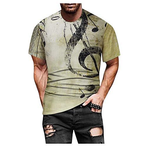T-Shirt Top Bluse Männer Frühling Sommer Casual Slim 3D gedruckt Kurzarm (S,6Gelb)