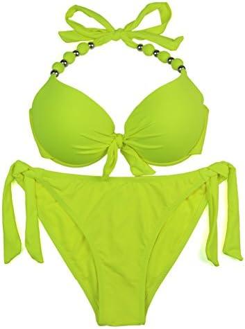 EONAR Womens Removable Padded Push Up Bikini Set Tie Side Swimsuit Swimwear L Yellow product image