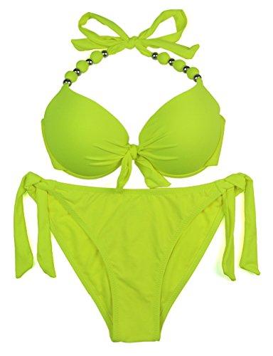 EONAR Damen Seitlich Gebunden Bikini-Sets Abnehmbar Bademode Push-up-Bikinioberteil mit Nackenträger, Gelb, (Größe:40-42)70D/75D/80C/85B