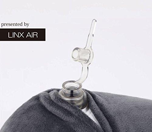 LINXAIR快適安眠エアーピロー空気まくらネックピロー首枕小さく畳めるトラベルグッズ旅行用カラーで見やすい説明書付きおしゃれな透明収納ケース付き(グレー)