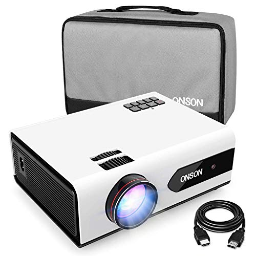 [2019 Upgrade] Mini Projector, 2800 Lux Portable Movie Projector with 50,000 Hours LED Lamp Life,...