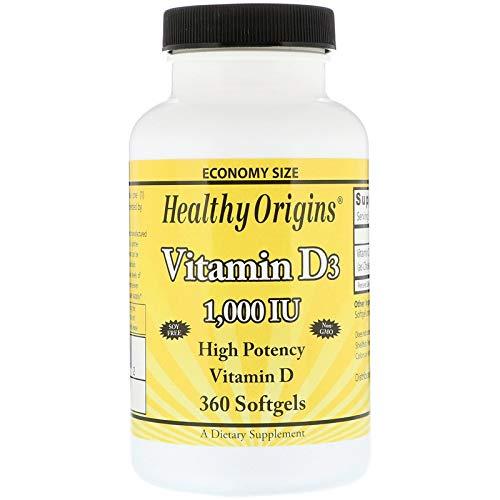 Healthy Origins, Vitamina D3 1.000 IU, 360 capsule, senza glutine, senza soia