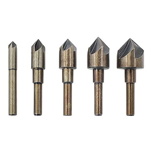 Drill Bit 5Pcs Countersink Drill Bit Set High Speed Steel 82° 5 Flute 6mm Round Shank Mill Cutter Bit Countersink
