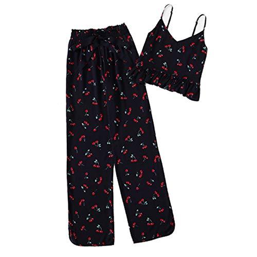 Cherry Ruffle Cami Pants Spaghetti Strap Knot Sleepwear Women Summer Sleeveless Nightwear Multi