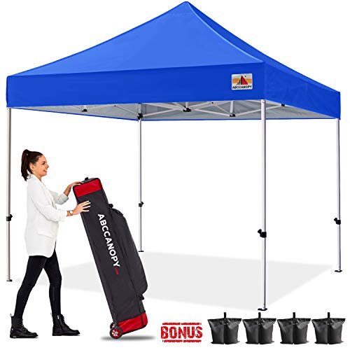 ABCCANOPY Canopy Tent Pop up Canopy Outdoor Canopy Commercial Instant Shelter with Wheeled Carry Bag, Bonus 4 Canopy Sand Bags, Royal Blue